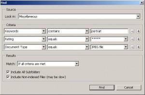 Screenshot of a Metadata Search