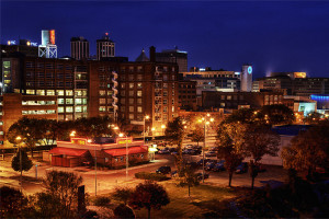 August 2013 Wallpaper - Peoria Skyline at Night